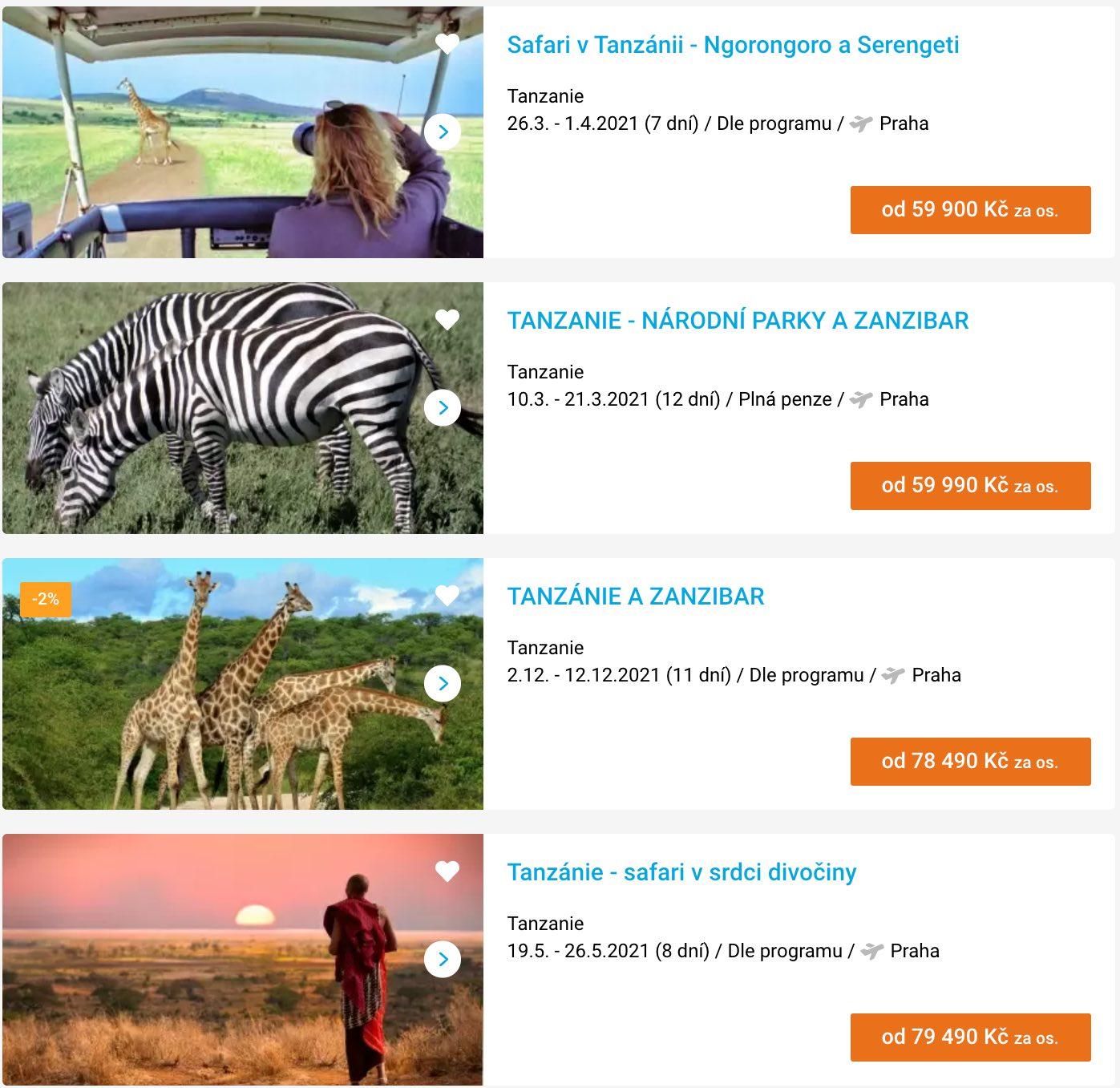 tanzánie zájezdy safari