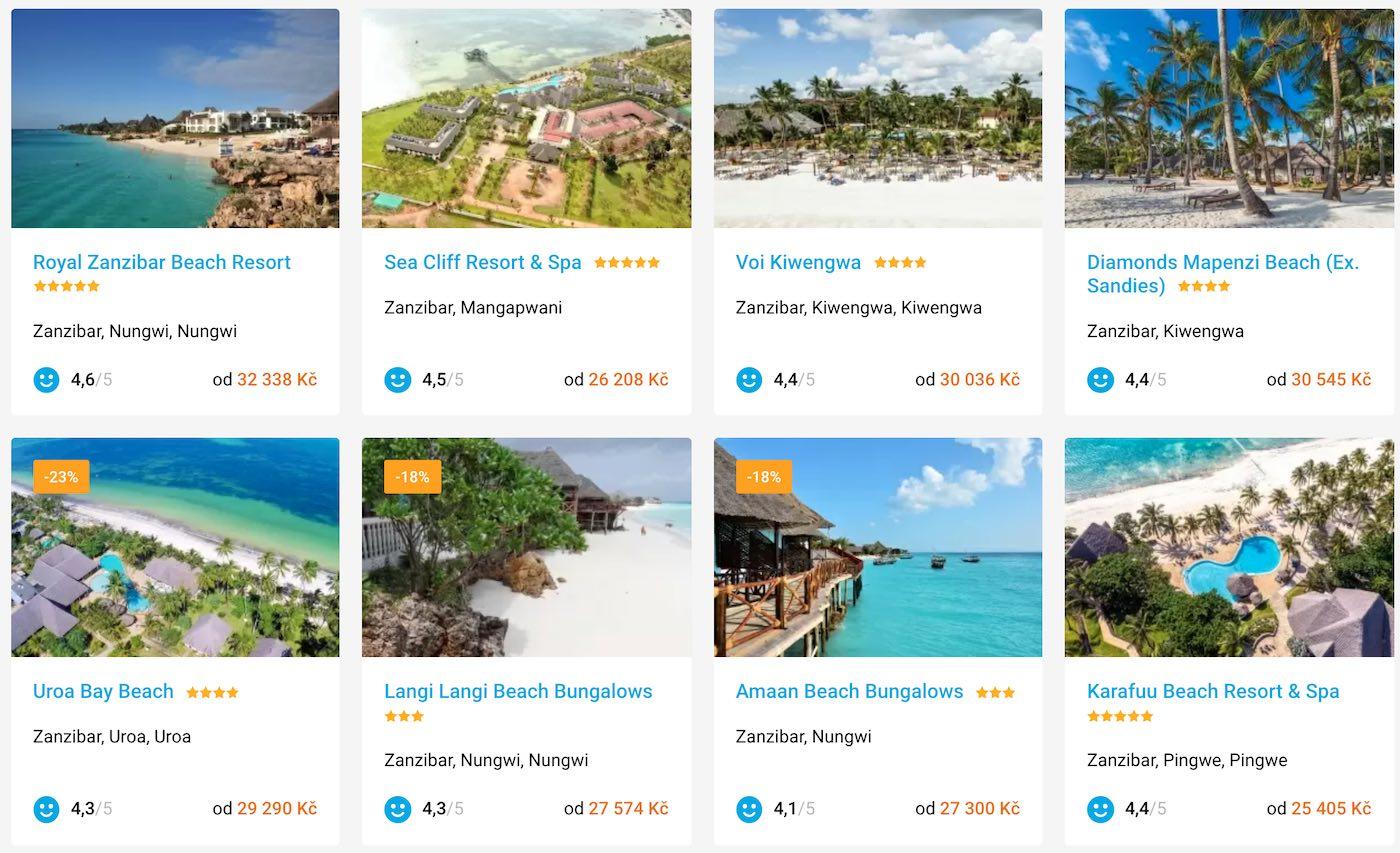 zanzibar dovolená hotely